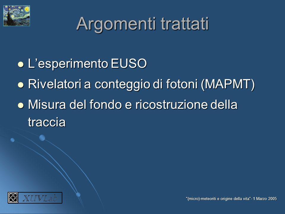 Argomenti trattati L'esperimento EUSO