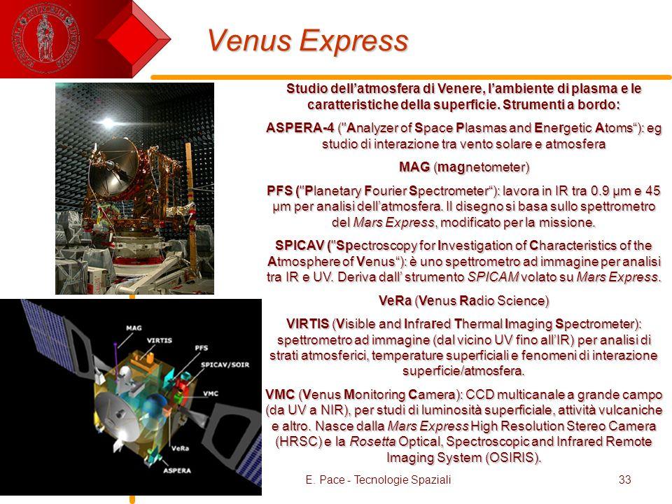 Venus ExpressStudio dell'atmosfera di Venere, l'ambiente di plasma e le caratteristiche della superficie. Strumenti a bordo: