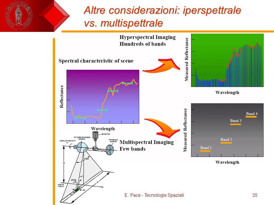 Altre considerazioni: iperspettrale vs. multispettrale