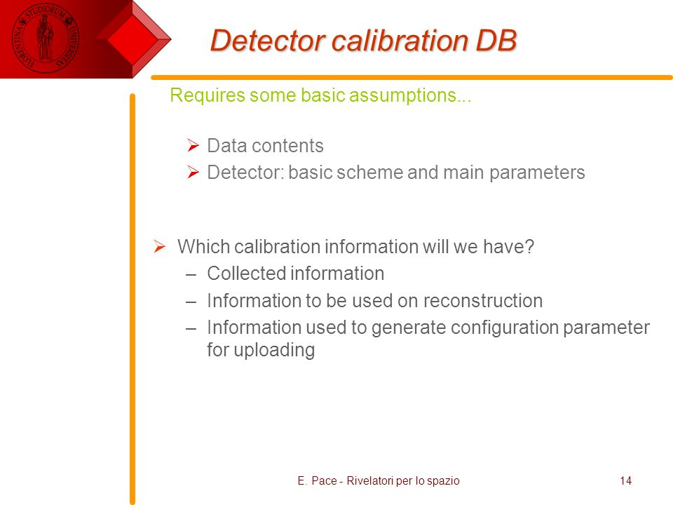 Detector calibration DB