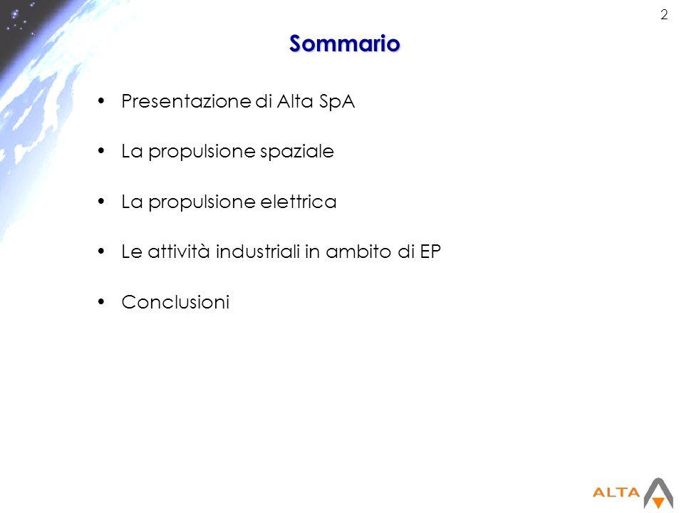 Sommario Presentazione di Alta SpA La propulsione spaziale