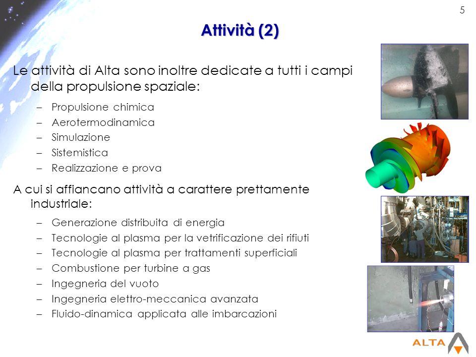 Attività (2) Le attività di Alta sono inoltre dedicate a tutti i campi della propulsione spaziale: Propulsione chimica.