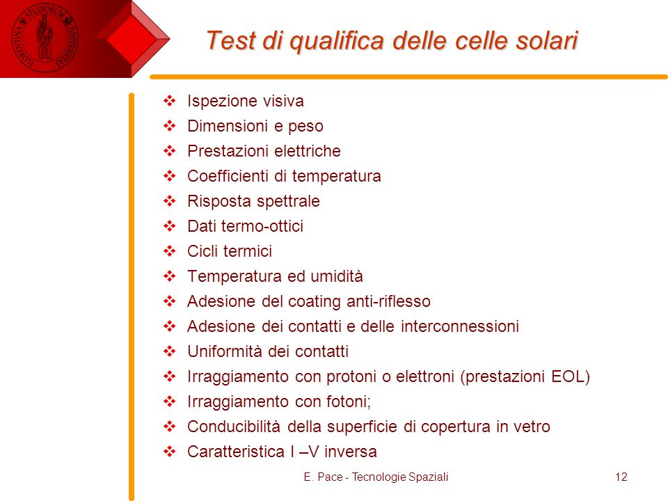 Test di qualifica delle celle solari