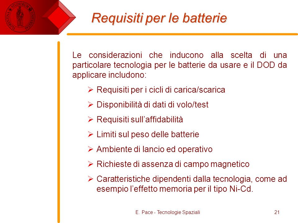 Requisiti per le batterie