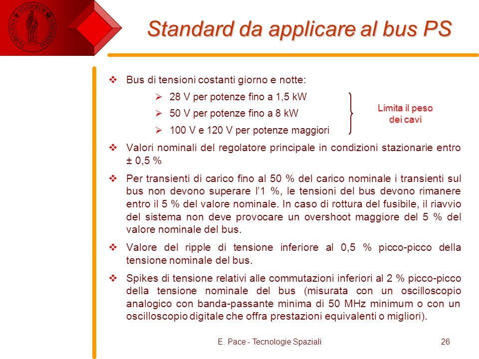 Standard da applicare al bus PS