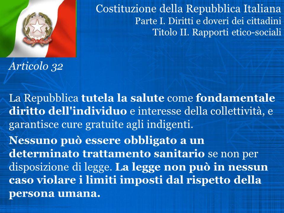 Costituzione della Repubblica Italiana Parte I
