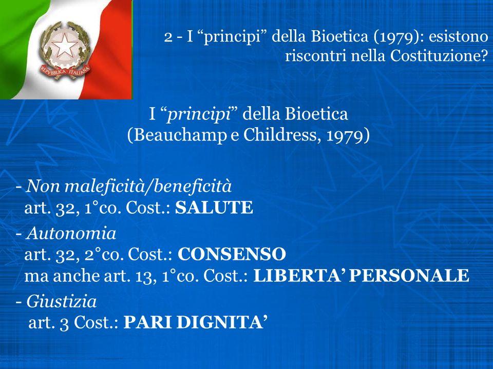 I principi della Bioetica (Beauchamp e Childress, 1979)