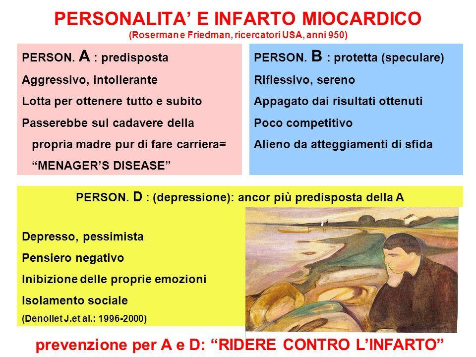 PERSONALITA' E INFARTO MIOCARDICO (Roserman e Friedman, ricercatori USA, anni 950)
