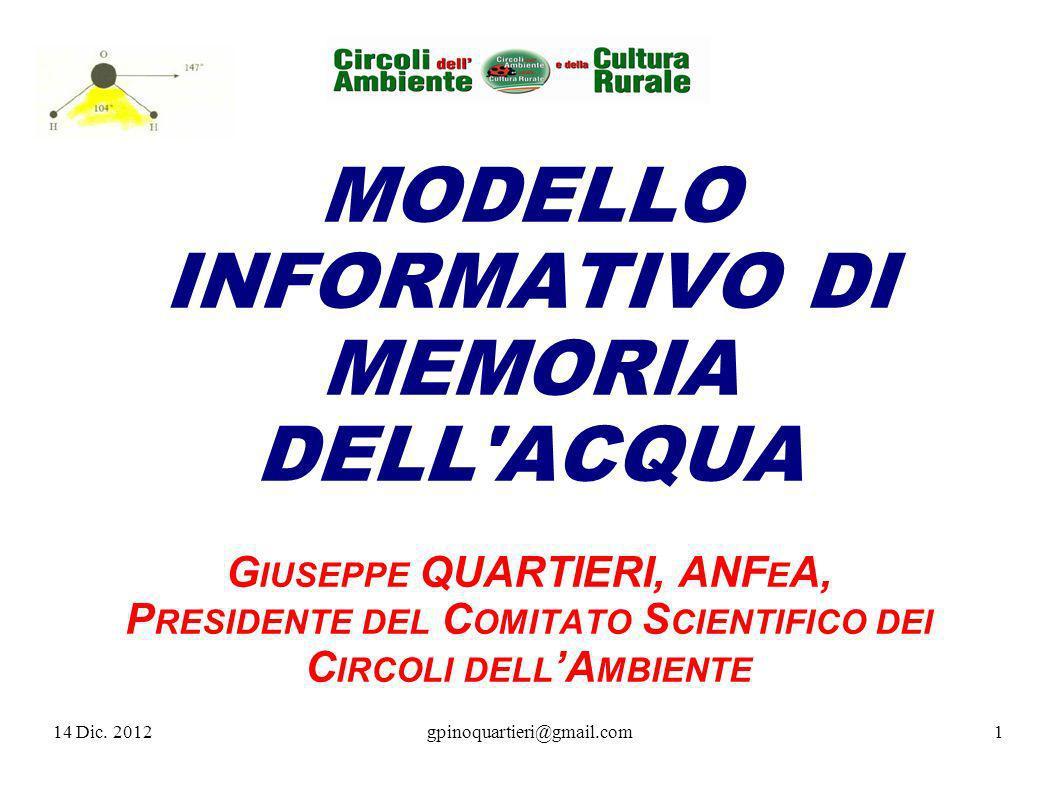 MODELLO INFORMATIVO DI MEMORIA DELL ACQUA