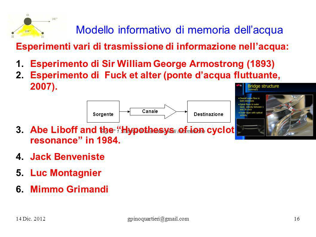 Modello informativo di memoria dell'acqua