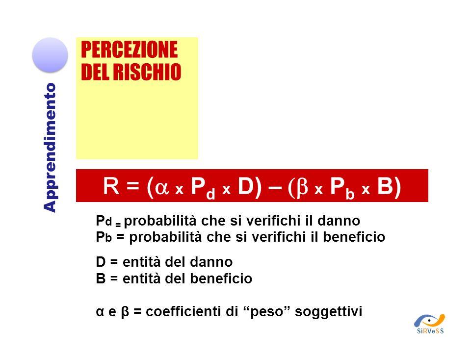 R = (a x Pd x D) – (b x Pb x B) PERCEZIONE DEL RISCHIO Apprendimento