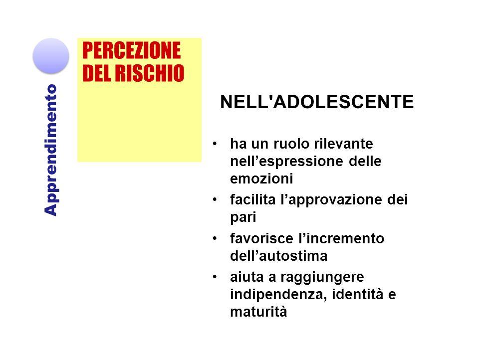 PERCEZIONE DEL RISCHIO NELL ADOLESCENTE Apprendimento