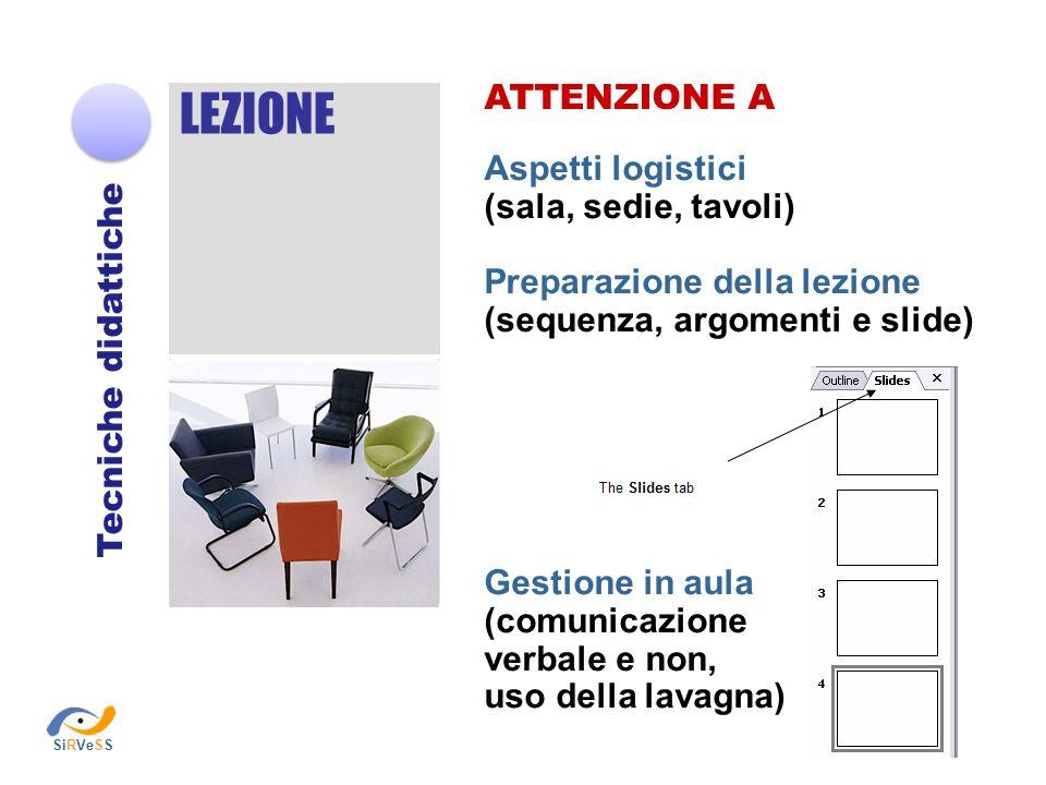 LEZIONE ATTENZIONE A Aspetti logistici (sala, sedie, tavoli)