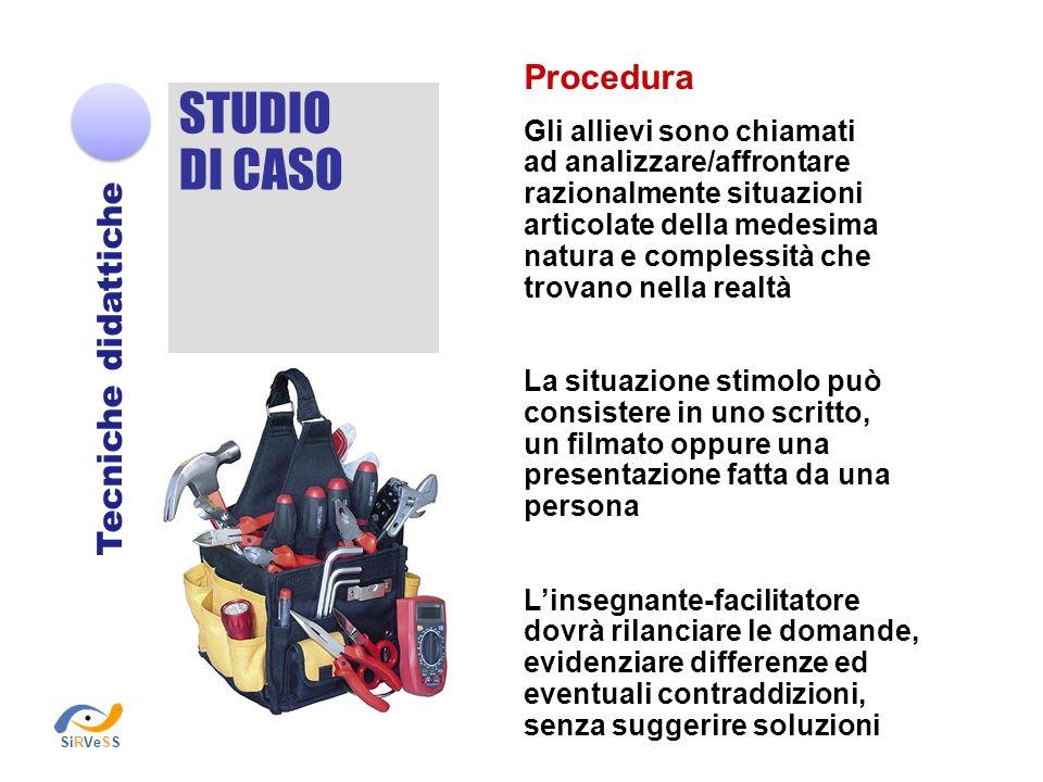 STUDIO DI CASO Procedura Tecniche didattiche Gli allievi sono chiamati