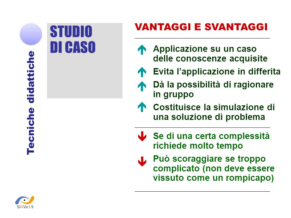 STUDIO DI CASO       VANTAGGI E SVANTAGGI Tecniche didattiche