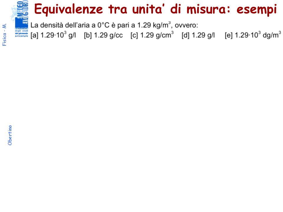 Equivalenze tra unita' di misura: esempi