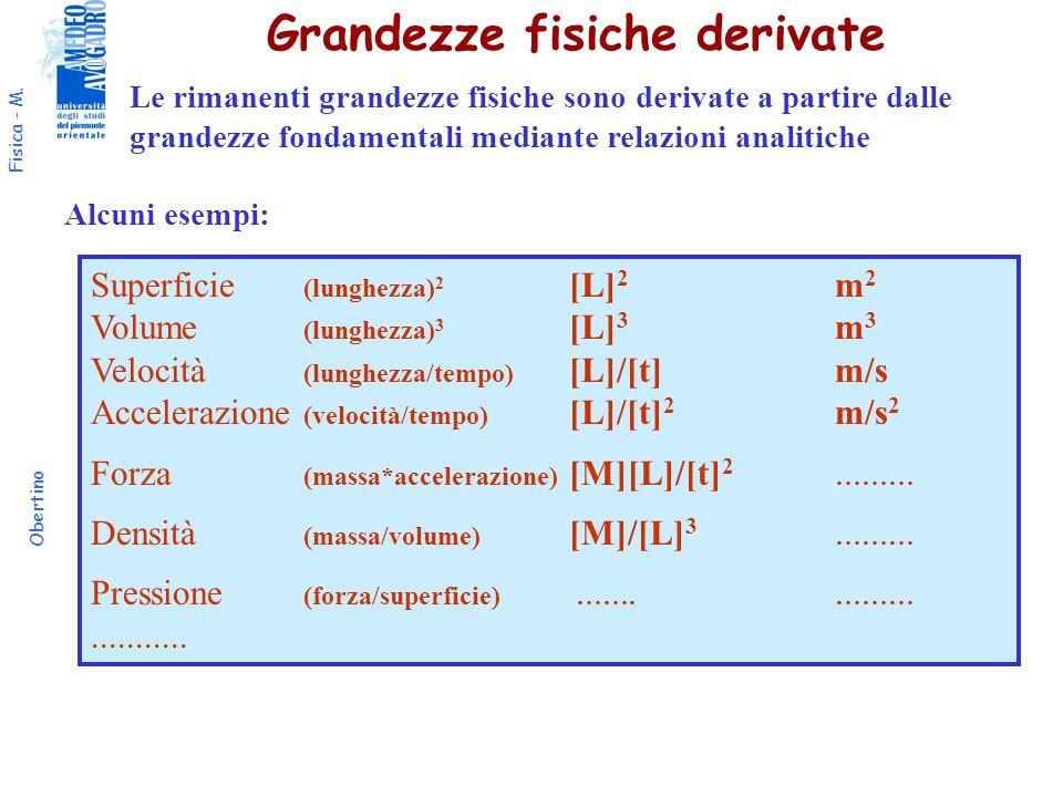 Grandezze fisiche derivate