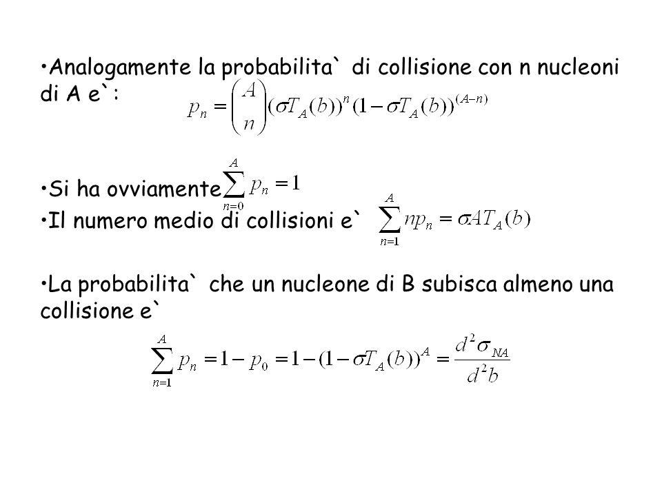Analogamente la probabilita` di collisione con n nucleoni di A e`: