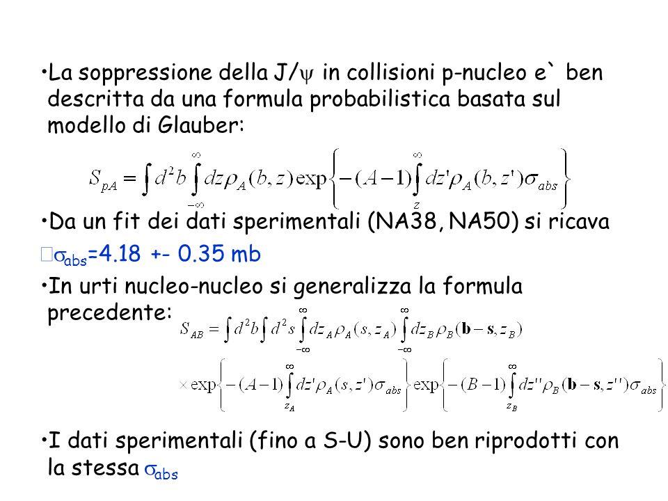 La soppressione della J/y in collisioni p-nucleo e` ben descritta da una formula probabilistica basata sul modello di Glauber: