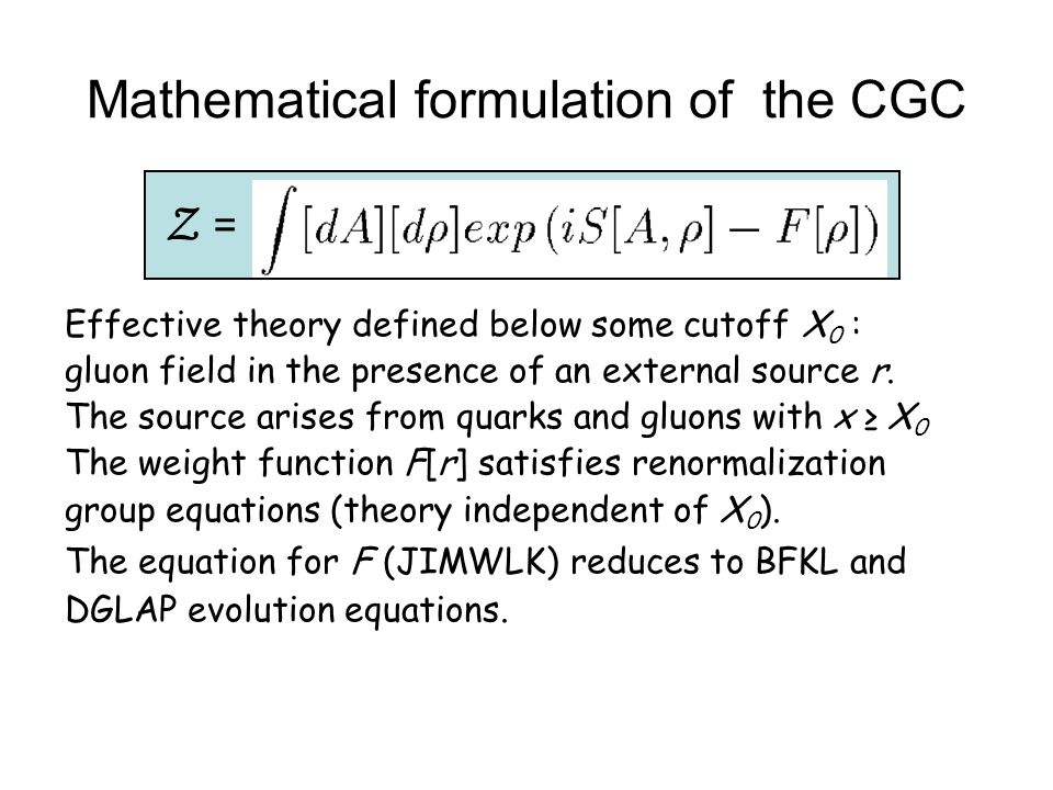 Mathematical formulation of the CGC