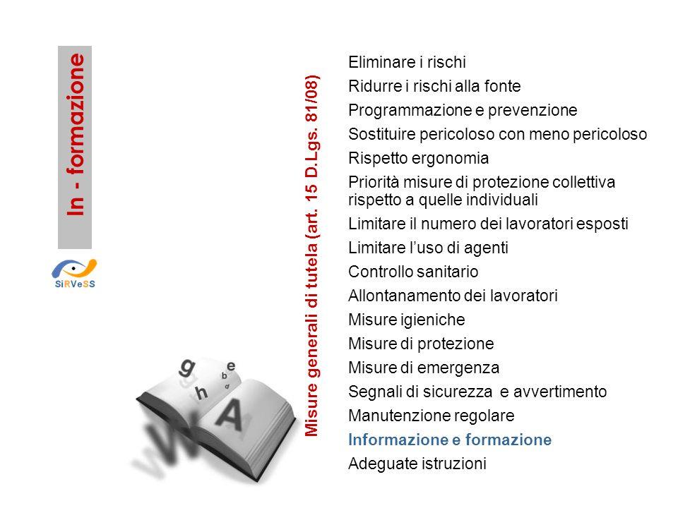 In - formazione Misure generali di tutela (art. 15 D.Lgs. 81/08)