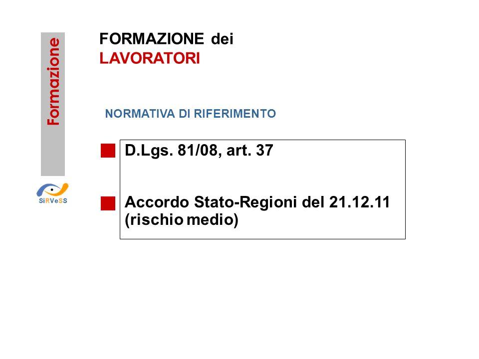 Accordo Stato-Regioni del 21.12.11 (rischio medio)