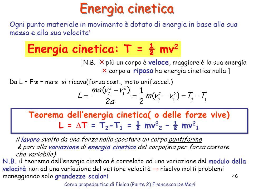 Teorema dell'energia cinetica( o delle forze vive)