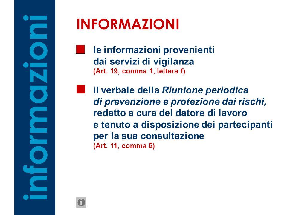 informazioni INFORMAZIONI le informazioni provenienti