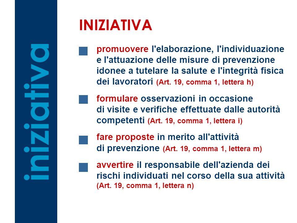 iniziativa INIZIATIVA promuovere l elaborazione, l individuazione