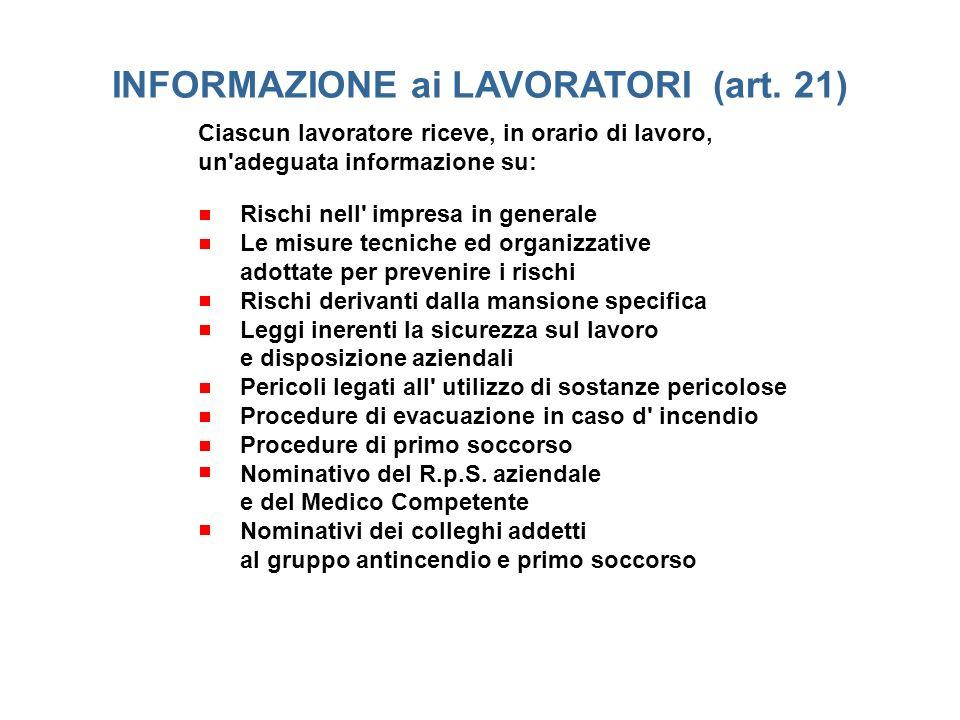 Informazione ai lavoratori (art. 21)