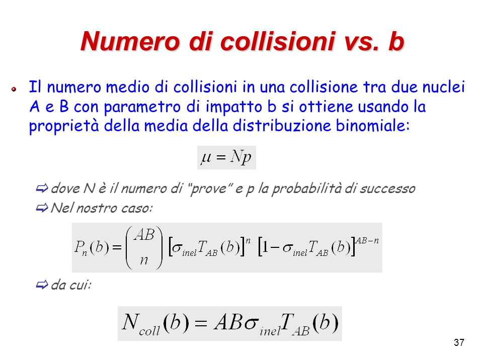 Numero di collisioni vs. b