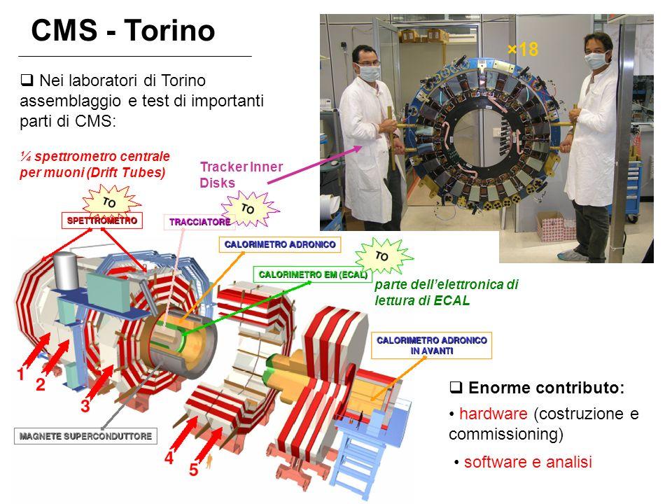 CMS - Torino ×18. Nei laboratori di Torino assemblaggio e test di importanti parti di CMS: ¼ spettrometro centrale per muoni (Drift Tubes)
