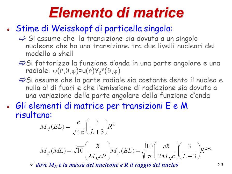 Elemento di matrice Stime di Weisskopf di particella singola: