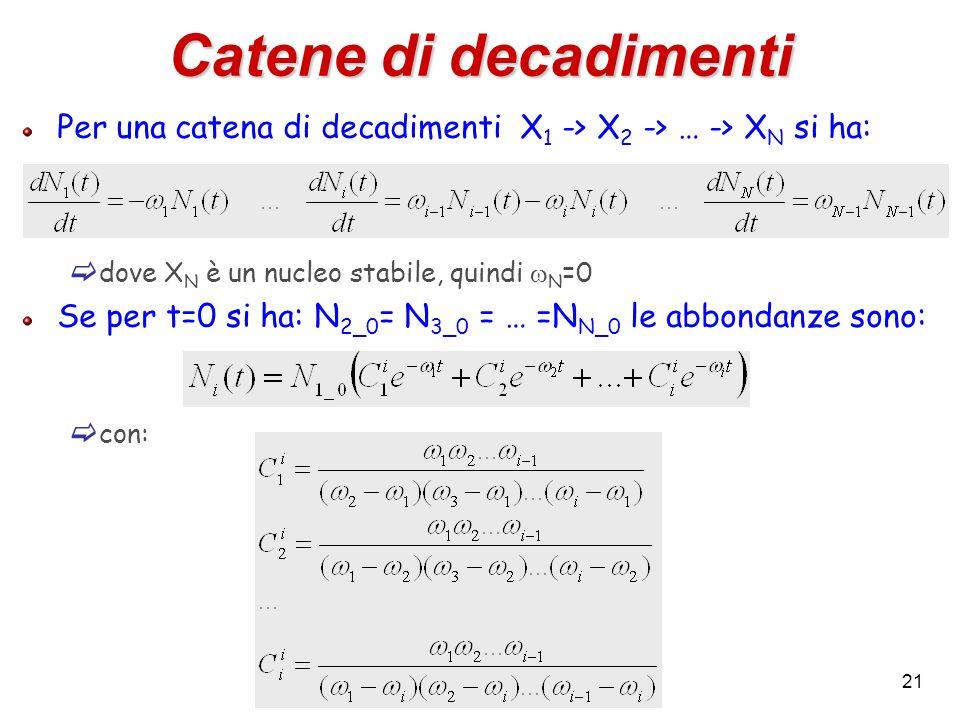 Catene di decadimentiPer una catena di decadimenti X1 -> X2 -> … -> XN si ha: dove XN è un nucleo stabile, quindi wN=0.