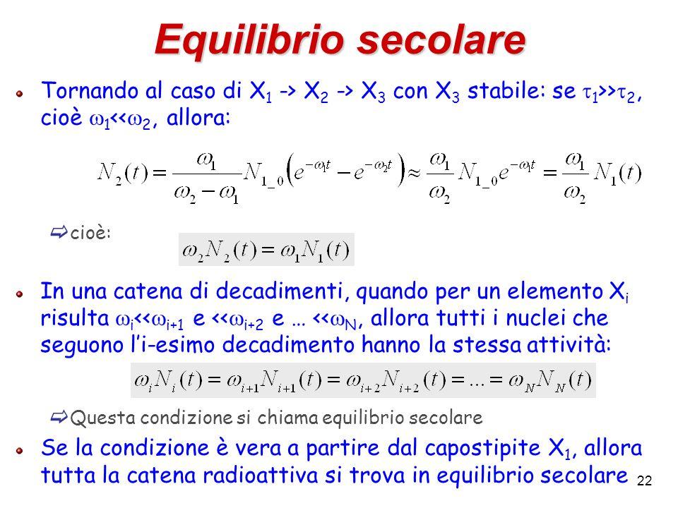 Equilibrio secolare Tornando al caso di X1 -> X2 -> X3 con X3 stabile: se t1>>t2, cioè w1<<w2, allora: