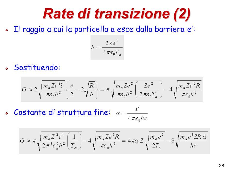 Rate di transizione (2) Il raggio a cui la particella a esce dalla barriera e': Sostituendo: Costante di struttura fine: