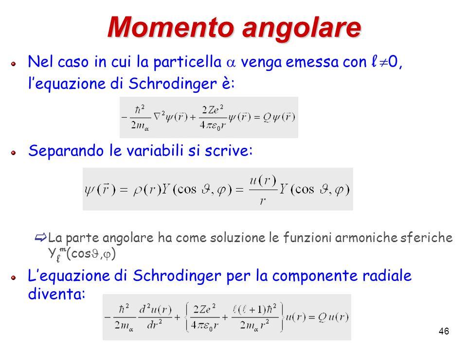 Momento angolare Nel caso in cui la particella a venga emessa con l 0, l'equazione di Schrodinger è: