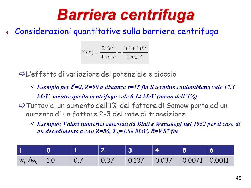 Barriera centrifuga Considerazioni quantitative sulla barriera centrifuga. L'effetto di variazione del potenziale è piccolo.