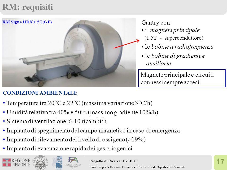 RM: requisiti Gantry con: • il magnete principale