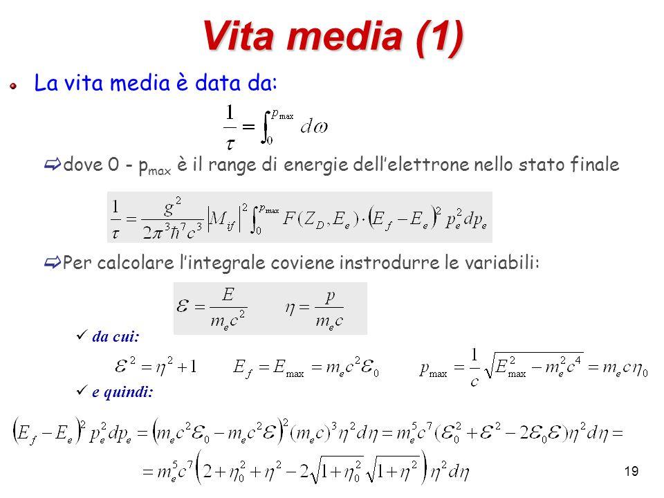 Vita media (1) La vita media è data da: