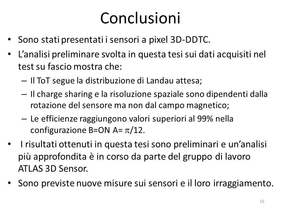 Conclusioni Sono stati presentati i sensori a pixel 3D-DDTC.