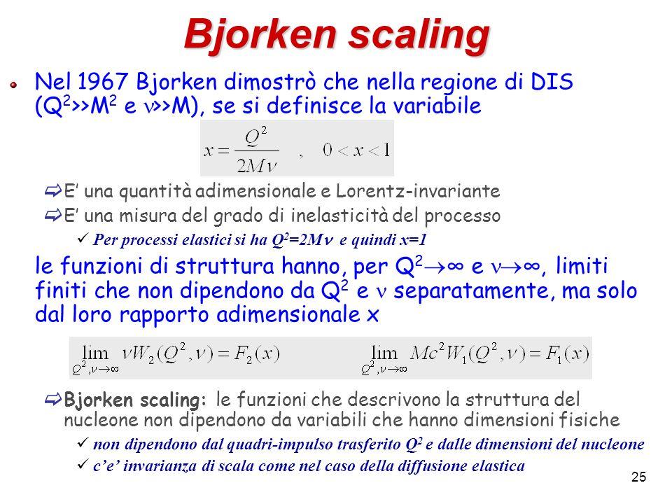 Bjorken scaling Nel 1967 Bjorken dimostrò che nella regione di DIS (Q2>>M2 e n>>M), se si definisce la variabile.