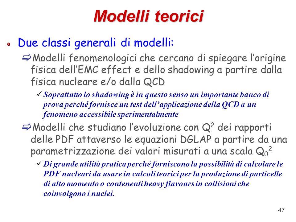 Modelli teorici Due classi generali di modelli: