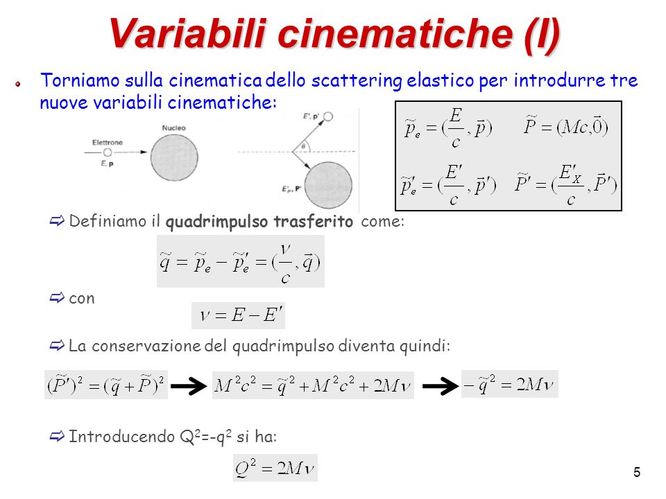Variabili cinematiche (I)