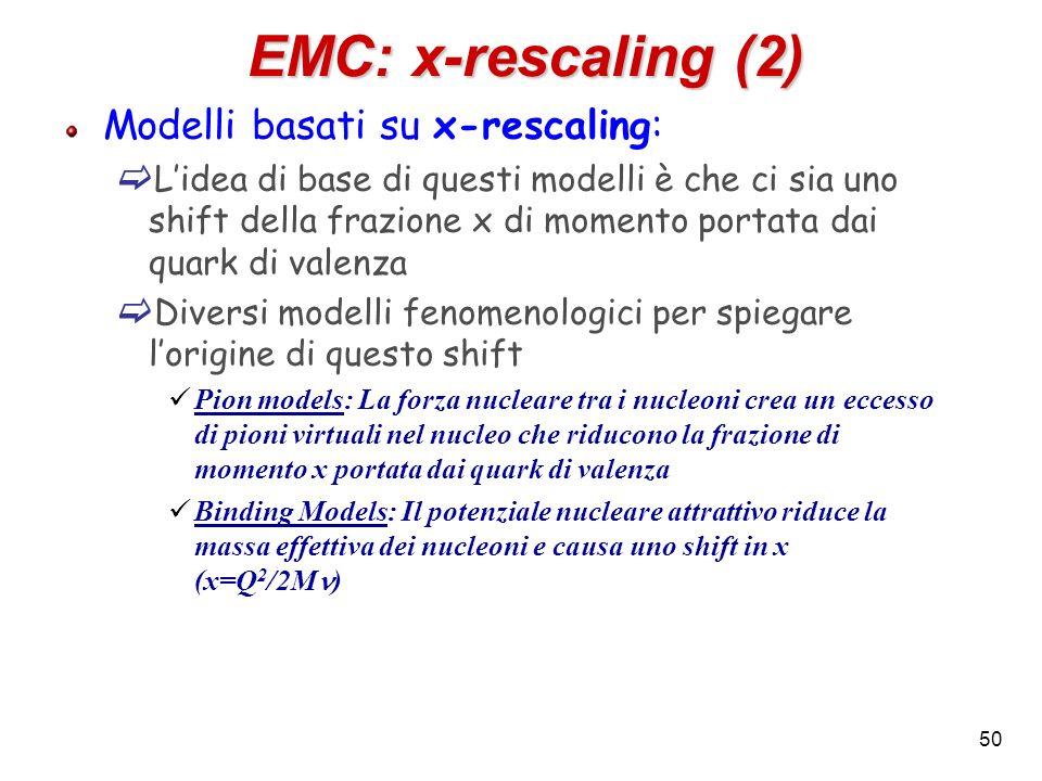 EMC: x-rescaling (2) Modelli basati su x-rescaling: