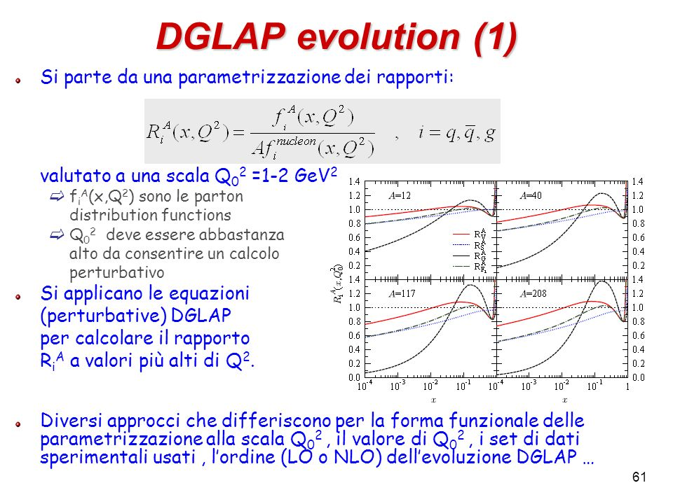 DGLAP evolution (1) Si parte da una parametrizzazione dei rapporti: