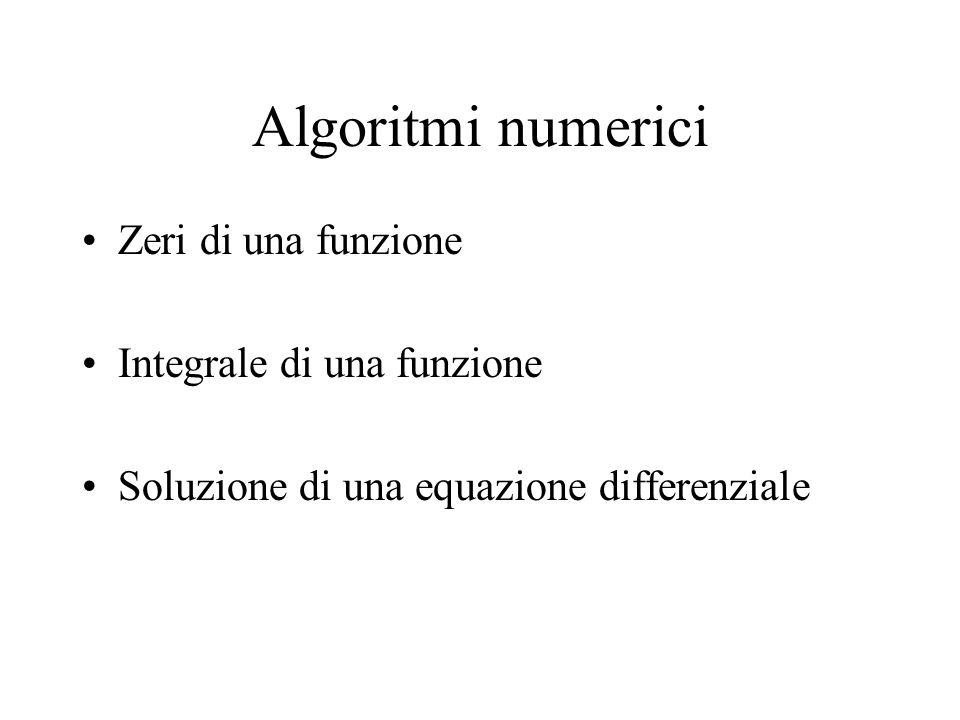 Algoritmi numerici Zeri di una funzione Integrale di una funzione