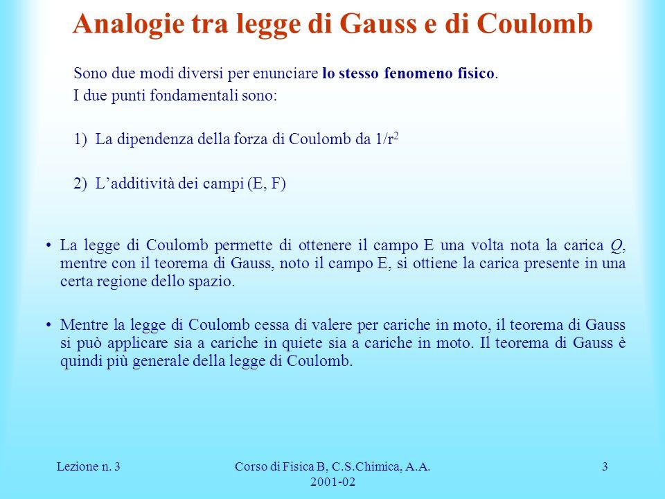 Analogie tra legge di Gauss e di Coulomb