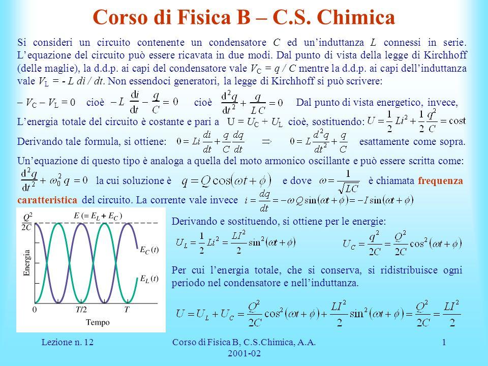 Corso di Fisica B – C.S. Chimica