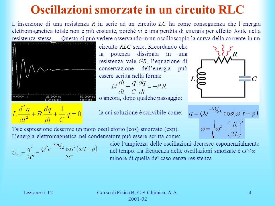 Oscillazioni smorzate in un circuito RLC